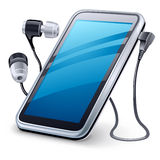 Personal media player and headphones Royalty Free Stock Images