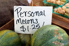 Personal Melon Sign. Sign for personal melons at local grower's market Stock Photo
