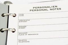 Personal notes. Week planer diary Royalty Free Stock Image