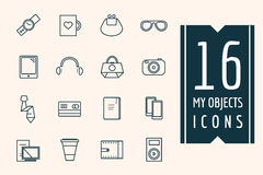 Personal objects vector icons set. Mobile Royalty Free Stock Photos