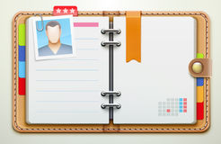 Personal organiser. Vector illustration of realistic overhead view of a leather personal organiser/planner Royalty Free Stock Photo