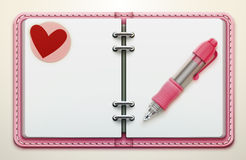 Personal organiser. Vector illustration of realistic overhead view of a pink leather personal organiser/planner Royalty Free Stock Photography