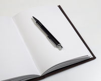 Personal organiser series. Blank personal organizer and pen Stock Photo