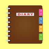Personal organizer. Diary with brown cover. Vector Royalty Free Stock Images