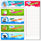 Personal organizer, diary or notebook. The most popular animals Vector printable cards and notes Stock Photo