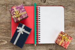 Personal organizer and gift boxes Stock Image