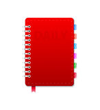 Personal Organizer. Leather notebook  on the white. Vector illustration Stock Photography
