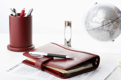 Personal organizer with pen Stock Image