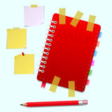Personal Organizer with Pensil. Leather notebook and pensil isolated on the white. Vector illustration Stock Photos