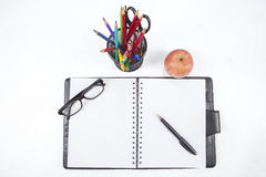 Personal organizer and stationery Royalty Free Stock Photos