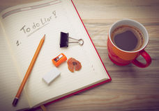 Personal organizer with a to do list Royalty Free Stock Photo