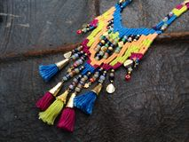 Beaded Ladies Neck Decorations. Personal ornaments, such as necklaces, rings, or bracelets, that are typically made from or contain jewels and precious metal stock images