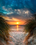 Personal Paradise on a Beautiful White Sand Beach at Sunset Royalty Free Stock Photo