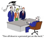 A personal pat on the back from boss Stock Images