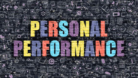 Personal Performance Concept. Multicolor on Dark Brickwall. Stock Image
