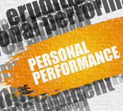 Personal Performance on White Wall. Royalty Free Stock Images