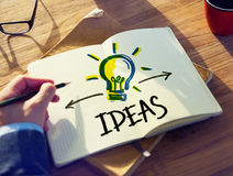 Personal Perspective of a Person Planning for Ideas Stock Photo