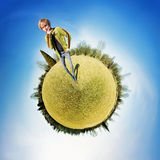 Personal planet. A girl thinking on her own planet stock photo