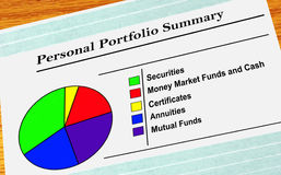 Personal Portfolio Summary. A pie chart of personal investments Royalty Free Stock Images