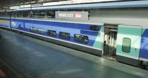 Personal POV of train arriving at Paris Est train station stock video footage
