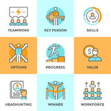Personal Progress Line Icons Set Royalty Free Stock Images