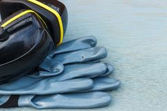 Personal protective equipment: helmet, gloves, goggles. stock images