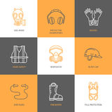 Personal protective equipment line icons. Gas mask, headphones, respirator, bump cap, ear plugs and safety work garment. Health protection thin linear signs Royalty Free Stock Image