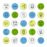 Personal protective equipment line icons. Gas mask, ring buoy, respirator, bump cap, ear plugs and safety work garment. Health protection thin linear signs Stock Photos