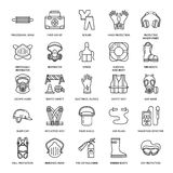 Personal protective equipment line icons. Gas mask, ring buoy, respirator, bump cap, ear plugs and safety work garment. Health protection thin linear signs Royalty Free Stock Image