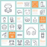 Personal protective equipment line icons. Gas mask, ring buoy, respirator, bump cap, ear plugs and safety work garment Stock Photo