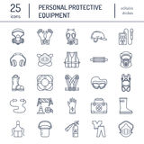 Personal protective equipment line icons. Gas mask, ring buoy, respirator, bump cap, ear plugs and safety work garment. Health protection thin linear signs Stock Photo