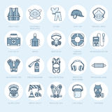 Personal protective equipment line icons. Gas mask, ring buoy, respirator, bump cap, ear plugs and safety work garment. Health protection thin linear signs Stock Image