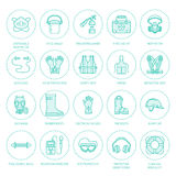 Personal protective equipment line icons. Gas mask, ring buoy, respirator, bump cap, ear plugs and safety work garment. Health protection thin linear signs Royalty Free Stock Photo