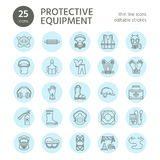 Personal protective equipment line icons. Gas mask, ring buoy, respirator, bump cap, ear plugs and safety work garment. Health protection thin linear signs Royalty Free Stock Photography
