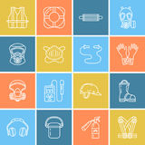 Personal protective equipment line icons. Gas mask, ring buoy, respirator, bump cap, ear plugs and safety work garment. Health protection thin linear signs Royalty Free Stock Images