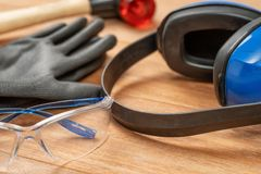 Free Personal Protective Equipment On A Wooden Background Stock Images - 142598074