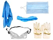 Free Personal Protective Equipment PPE Kit Royalty Free Stock Photography - 180073267