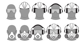 Personal protective equipment. Set icons of personal protective equipment Royalty Free Stock Images