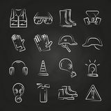 Personal protective equipment thin line icons on chalkboard design Royalty Free Stock Image