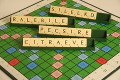 Personal qualities as a scrabble anagram. Personal qualities spelt out as a scrabble anagram Stock Images