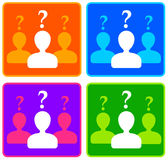 Personal questions. Persons or teams trying to answer questions Royalty Free Stock Photography