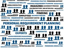 PERSONAL REQUIREMENT PLANNING - image with words associated with the topic RECRUITING, word, image, illustration. PERSONAL REQUIREMENT PLANNING - image with Royalty Free Stock Photo