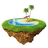 Personal resort on little planet. Concept for travel, holiday, hotel, spa, resort design. Tiny island / planet collection Royalty Free Stock Photos
