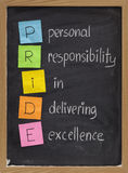 Personal responsibility in delivering excellence. PRIDE (personal responsibility in delivering excellence) concept on blackboard, color sticky notes and white Stock Image