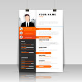 Personal Resume. Modern template in orange style. Vector Stock Photos