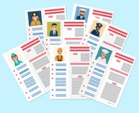 Personal Resumes of Different Industry Workers. Personal resumes of flight attendant, brave firefighter, businessman, handy plumber, bold captain, honest Stock Photo