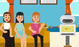 Robot microwave snacks to his owner and her friends at home. Royalty Free Stock Image
