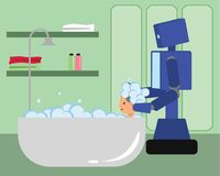 Domestic robot washing hair of woman in bathtub. Royalty Free Stock Images