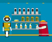 Domestic robot purchasing household chemical goods at local store. Stock Image