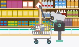 Domestic robot shopping at supermarket. Personal robot housekeeper futuristic concept illustration Stock Photo